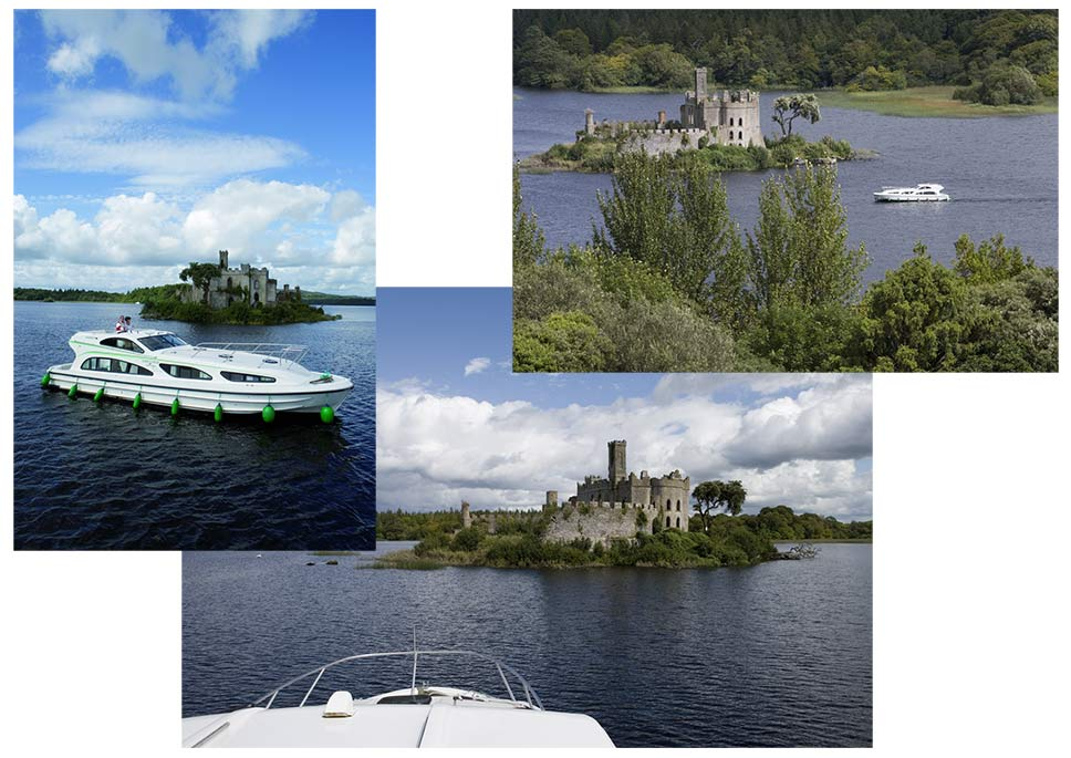 Cruising past the island castle at Lough Key