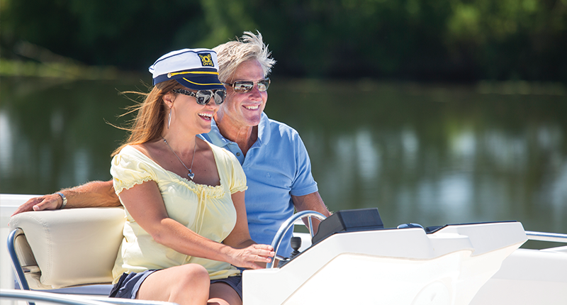 Couple on Le Boat holiday