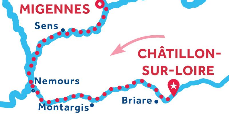 Chatillon-sur-Loire to Migennes via Montargis & Sens