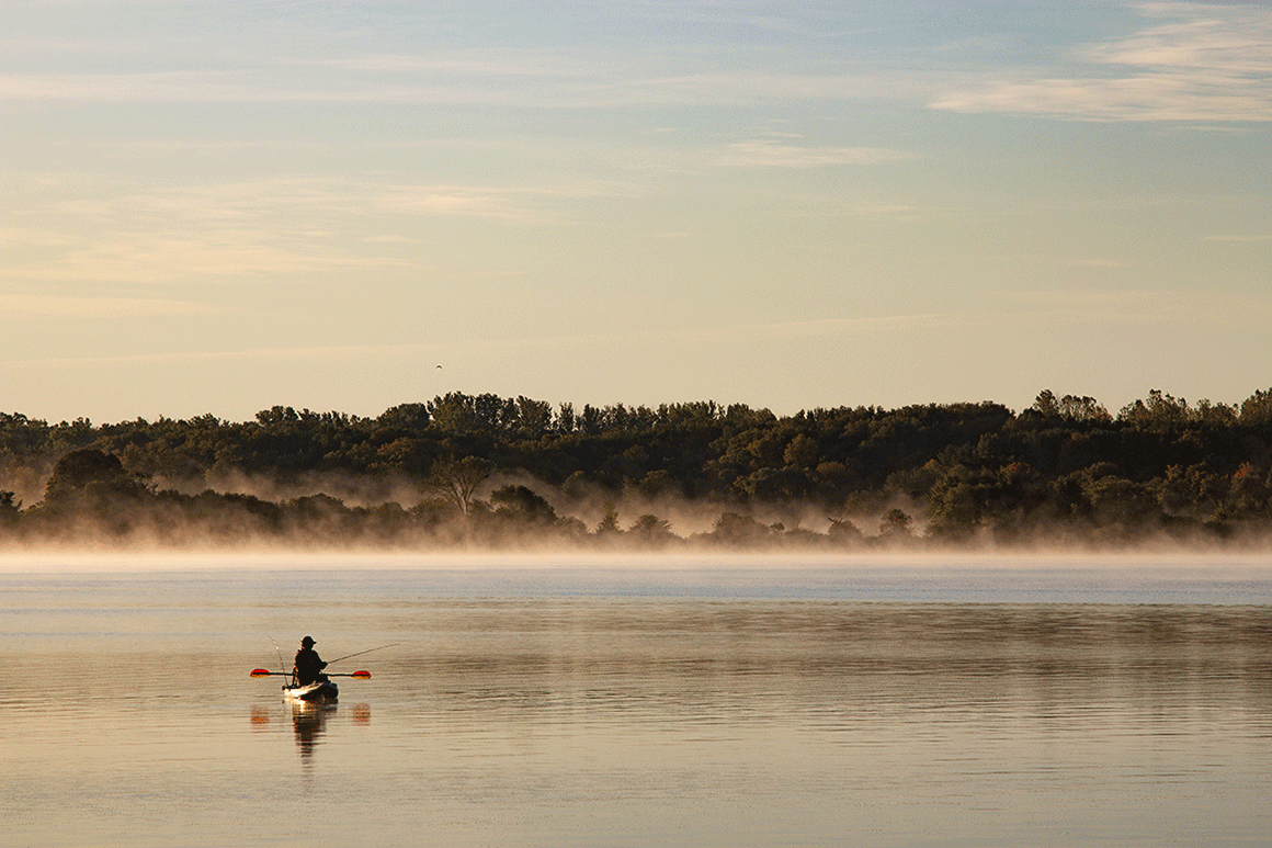 Kayaking and Fishing on a misty morning on the Rideau with Le Boat
