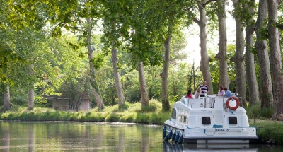 Boating on the Canal du Midi in France