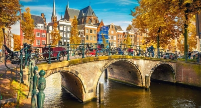 Bridge over Amsterdam Canal, Netherlands