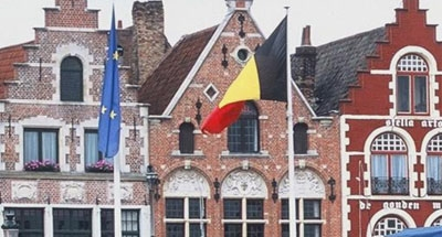 Belgium flag and house facade Flanders