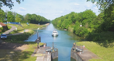 Boat approaches lock