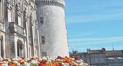 Château et fleurs sur la Charente