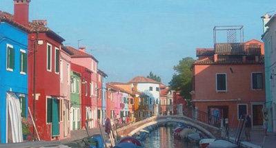 Maisons colorées le long du Canal à Venise