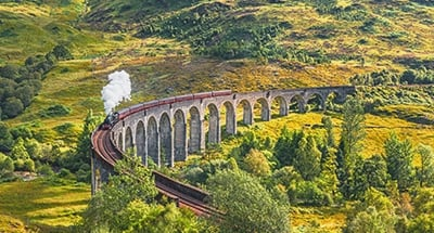 Jacobite steam train crossing the Glenfinnan Viaduct
