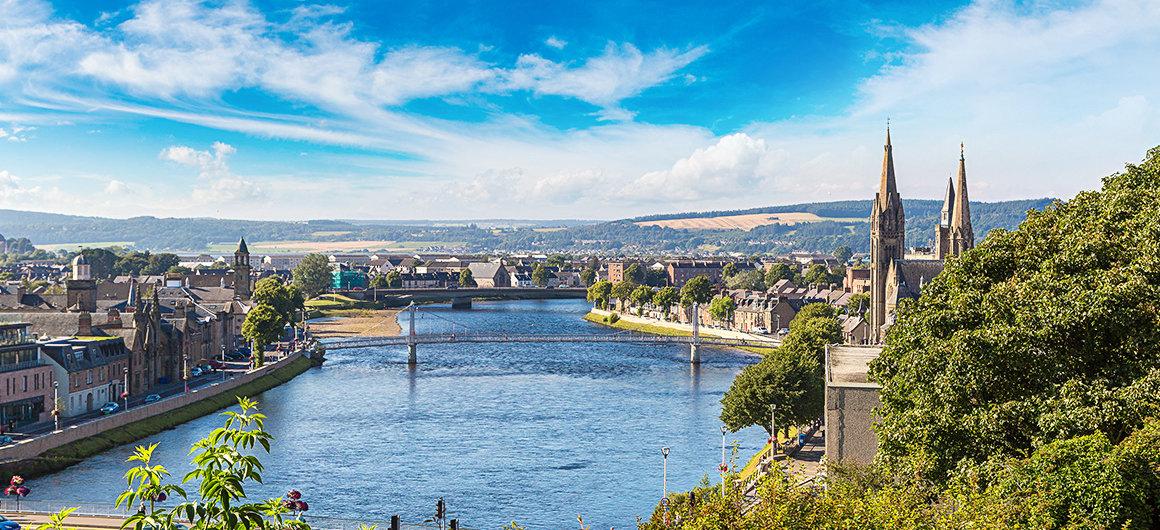 Panorama sur la ville d'Inverness, Écosse