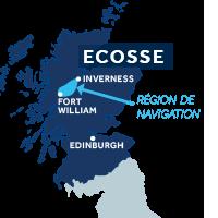 Carte indiquant la zone de navigation sur le Canal Calédonien en Écosse