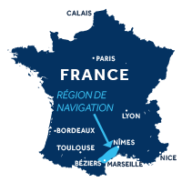 Carte indiquant la zone de navigation en Camargue en France