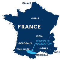 Carte indiquant la zone de navigation sur le Canal du Midi en France