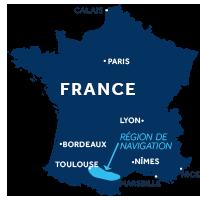 Zone de navigation sur le Canal du Midi en France