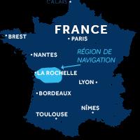 Carte indiquant la zone de navigation en Charente en France