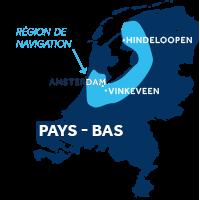 Carte indiquant les zones de navigation en Frise et en Hollande aux Pays-Bas