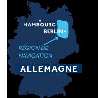 Carte indiquant les zones de navigation dans le Mecklembourg et Brandebourg en Allemagne