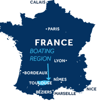 Map showing where Lot boating region is in France