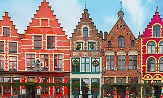 Colourful houses in Bruges