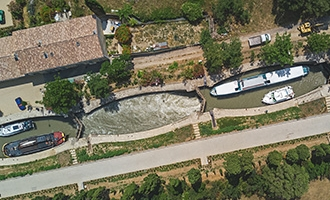 Aerial view of Fonseranes Locks, Canal du Midi